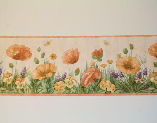 International Wallpaper Border Butterflies Flowers Poppies Pansies Hyacinth