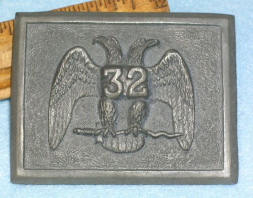 Antique AMES FOUNDRY PATTERN 19thC MASONIC 32nd DEGREE SWORD BELT PLATE Buckle