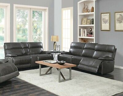 TOP GRAIN CHARCOAL GREY LEATHER POWER RECLINING SOFA LOVESEAT FURNITURE