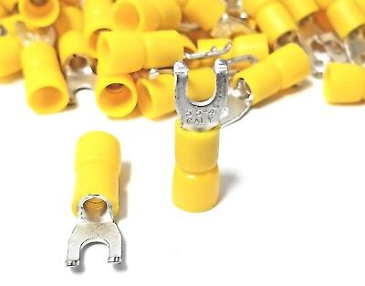 100pk Flanged Fork Terminal 12-10 Yellow Vinyl Insulated 8 Hook