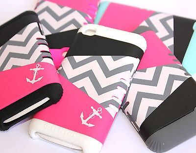 iPod Touch 4th Gen - HARD & SOFT RUBBER HYBRID HIGH IMPACT CASE CHEVRON / ANCHOR Ipod Touch 4 Hybrid