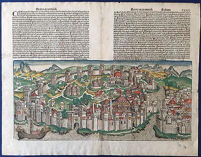 Doppelseitige Stadtansicht KONSTANTINOPEL, Schedel Weltchronik 1493, Istanbul