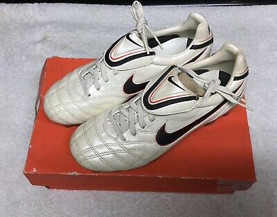 Nike Tiempo Legend lll FG 366201 908 White/ Blue Cleats Boots Size 5.