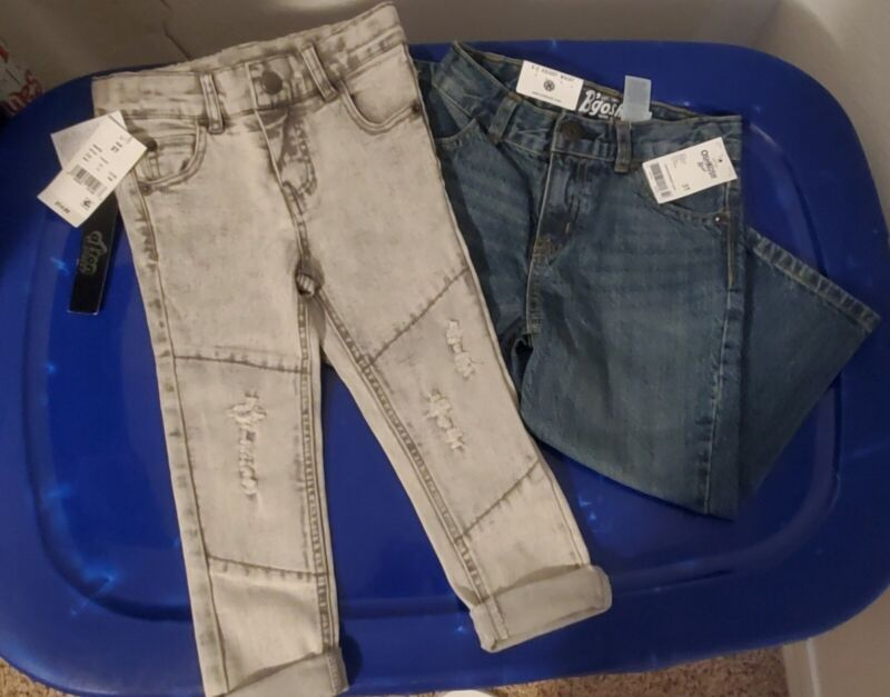2 New Pairs of Toddler Boys Pants - Size 3T Blue/Gray Jean