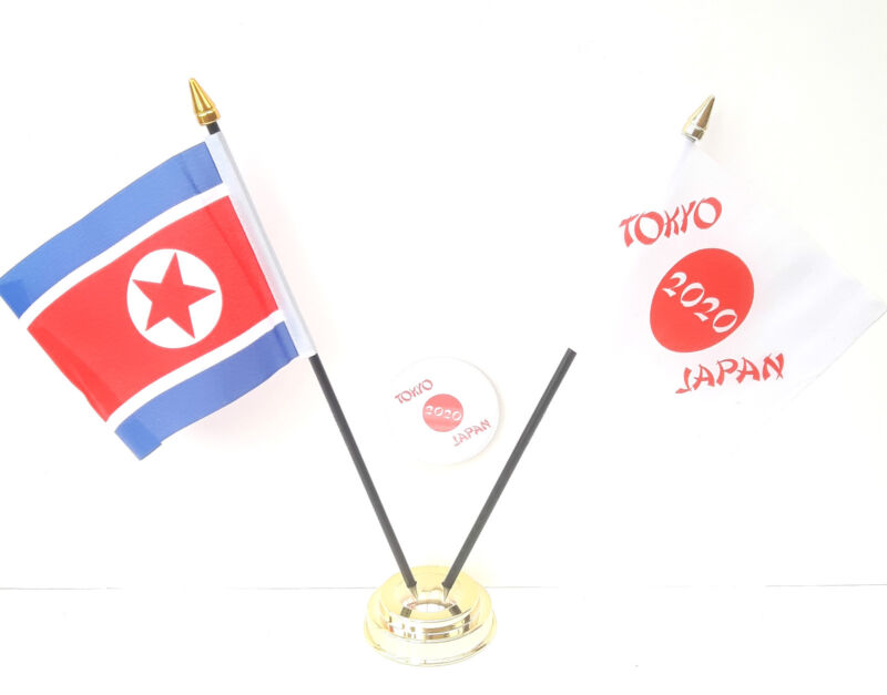 Korea North & Tokyo Japan Olympics 2020 Desk Flags & 59mm BadgeSet