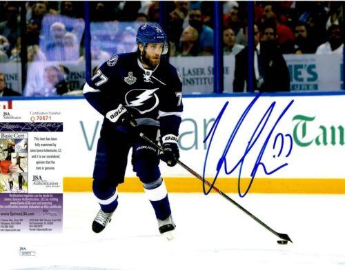 Victor Hedman Signed 11x14 Photo w/ JSA COA #Q70671 Tampa Bay Lightning Sweden