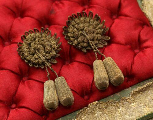 ANTIQUE FRENCH LOT 2 TINY 1920 GOLD METAL BOBBLE FLOWER TASSEL TRIM  DOLL DRESS