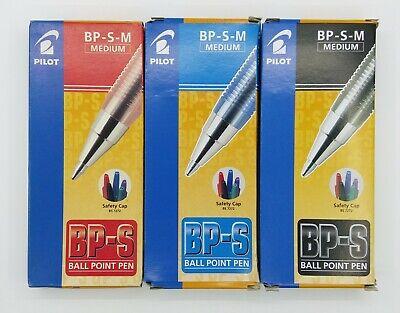 Pilot Bp-s-m 1mm M Ball Point Pen 12 Blue 12 Black 12red  Pcs C