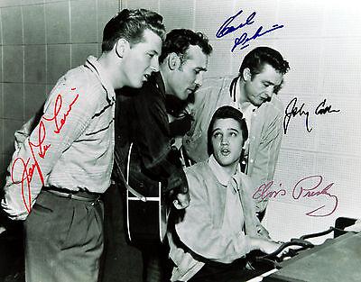 Jerry Lee Lewis/Elvis Presley/Johnny Cash/Carl Perkins 8x11 Signed Autograph RP