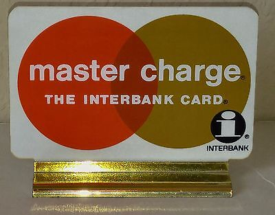 "Vintage Credit Card Cash Register Plaque & Stand MASTER CHARGE INTERBANK 4""x2½"""