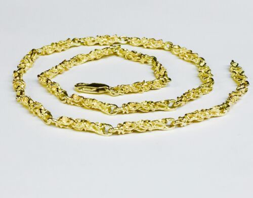 "14kt Solid Yellow Gold Handmade Nugget Link Chain/necklace 18.5"" 25 Grams 4.5 Mm"