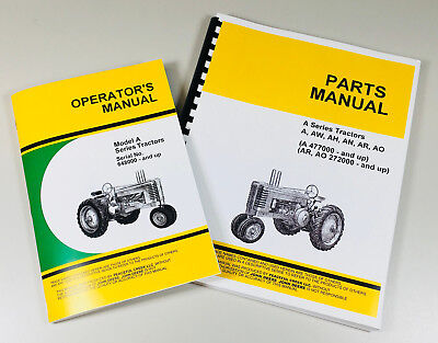 Operators Parts Manuals For John Deere A Aw Ah An Ar Ao Tractor Catalog Owners