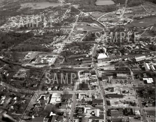 1971 Aerial of Downtown Main Street Lancaster SC  - Print Photo Picture