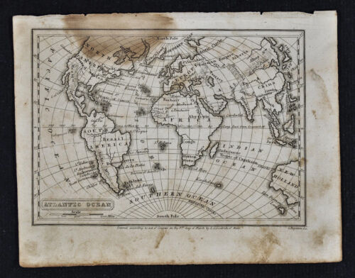 1839 Boynton Map - Atlantic Ocean - North South America Africa Europe Asia World