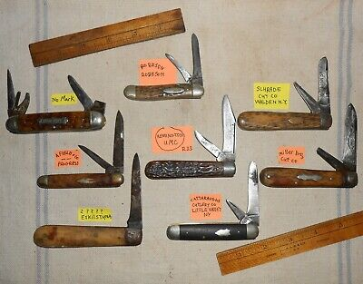 8 Antq Pocket Knives for Parts Fix Schrade Robeson Cattaraugus Remington Miller
