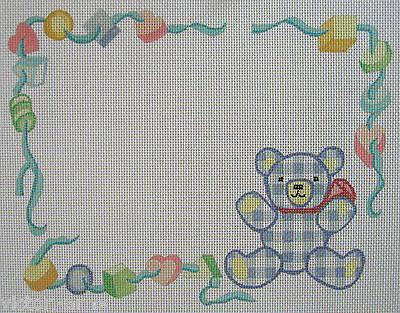 Handpainted Needlepoint Canvas Birth Announcement Frame Baby Danji