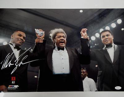 Mike Tyson Hand Signed Autographed 16X20 Photo w/ Muhammad Ali Don King JSA COA
