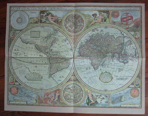 MAP 1651 repro New and Accurat Map of the World Heavens Elements Eclypse Sphere