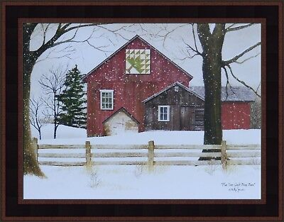 Pine Block (PINE TREE QUILT BLOCK BARN by Billy Jacobs 15x19 FRAMED PRINT PICTURE Farm Snow )