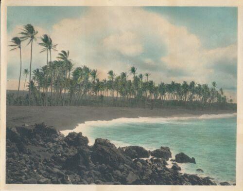 1938 Black Sand Beach  KALAPANA  Big Island Hawaii 8x10 hand colored Photo