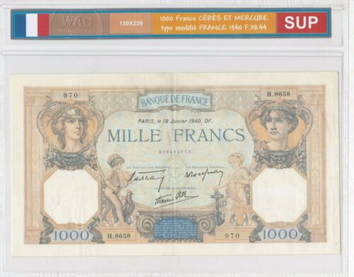 Ticket From 1000 Francs Ceres And Mercury 1940