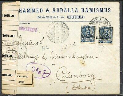 MASSAUA ERITREA 11.FEB.1916 REG. via BOLOGNA 'OUVERT' CULEMBORG, OLANDA    Hc184