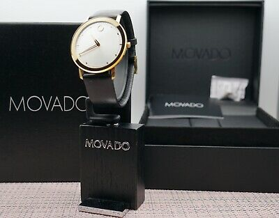 Swiss Movado Sapphire TC Golden Mirror Bezel Leather Band Men's Model # 0606695