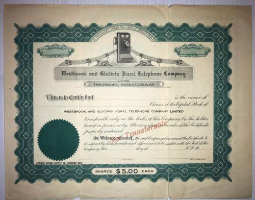 Westbrook & Gladwin Rural Telephone~1914 stock certificate(U)Saskatchewan Canada