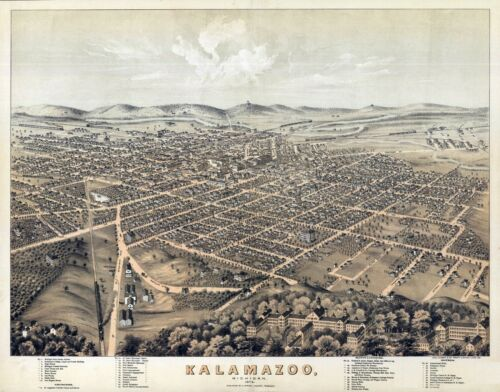 1874 KALAMAZOO MICHIGAN panoramic map GENEALOGY poster mi23