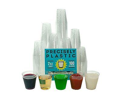 2 Oz Plastic Shot Glasses (100 Shot Glasses Premium 2oz Clear Plastic Disposable Cups, Perfect)