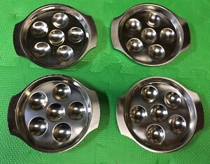 Set of 4 Stainless Steel Escargot Dishes - EUC!