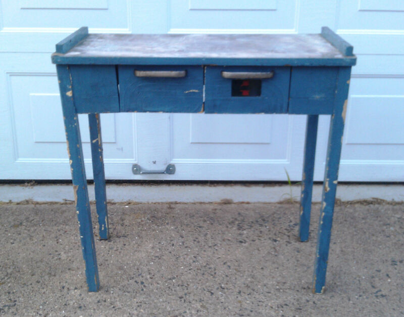 Vintage Deco-Style 2 Drawer Medical Table, Original Blue Paint w/ Stainless Top!