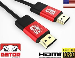 Premium HDMI Cable Gator Cable V1.4 3D 1080P HDTV PS3 XBOX BLUERAY LCD - Red
