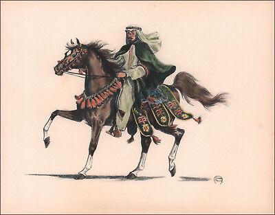 ARABIAN HORSE SHOW, NATIVE COSTUME CLASS, hand colored print, J Mellin 1953