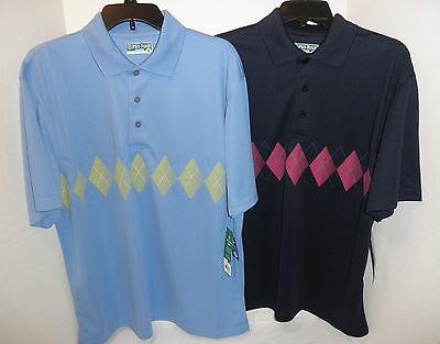 Argyle Mens Golf Polo (NWT $55 Mens Pro Tour CoolPlay Wicking Argyle Golf Polo Shirt Blue Navy )