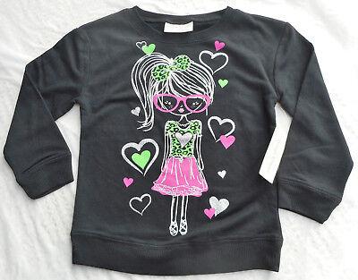 Mädchen Pulli T-Shirt 🌺 MÄDCHEN MIT BRILLE 🌺 Glitzer 🌺 schwarz 🌺 NEU