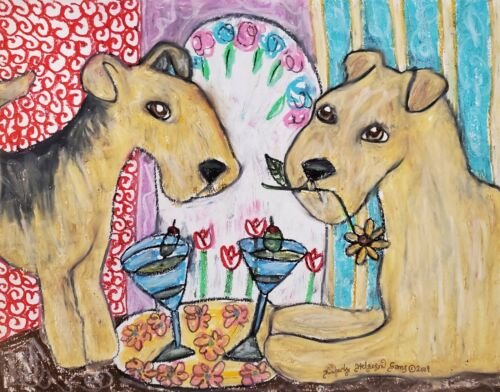 Lakeland Terrier Drinking Martini Art Print 11x14 Dog Collectiblle Artist KSams