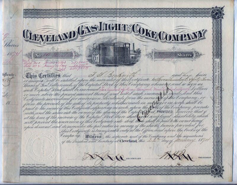 Cleveland Gas Light & Coke Company Stock Certificate