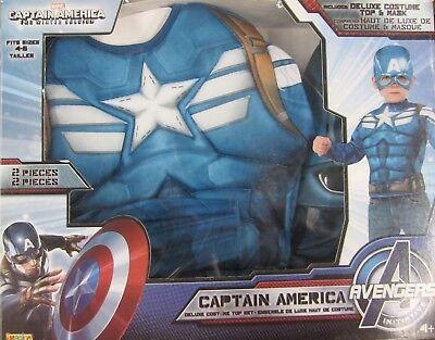 Captain America Winter Soldaten Jungen Muskelkostüm Marvel Größe 4-6 Neue Box