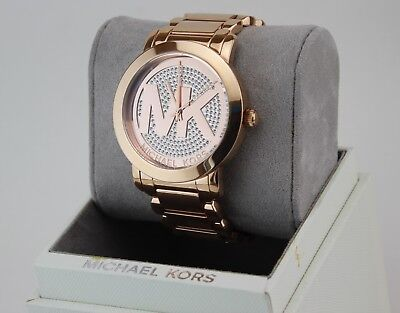 NEW AUTHENTIC MICHAEL KORS RUNWAY ROSE GOLD PAVE CRYSTALS WOMEN'S MK3463 WATCH