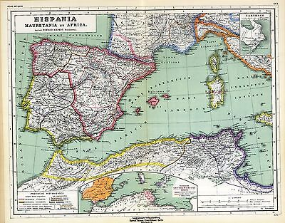 - 1903 old antique map ANCIENT WORLD North Africa SPAIN UNDER VARIOUS EMPIRES 10