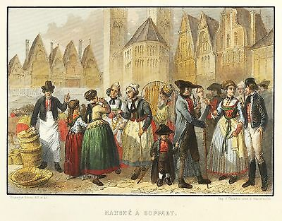 BOPPARD - MARKT - Rouargue - kolorierter Stahlstich 1859