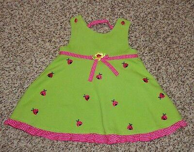 Youngland Baby Girls Ladybug Dress Bright Green Pink Size 12 Months EUC