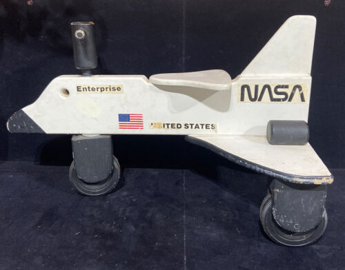 """Vintage NASA Space Shuttle Wood Wooden Children's Push Tricycle Ride-On 28"""" Long (Used - 129.99 USD)"""