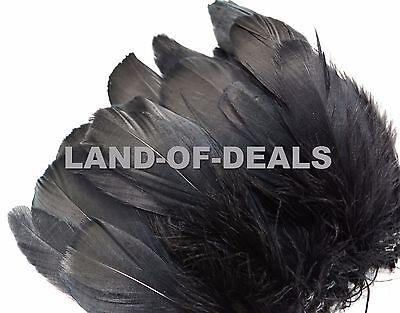Black goose nagoire feathers millinery craft Wholesale bulk strung  - Bulk Feathers
