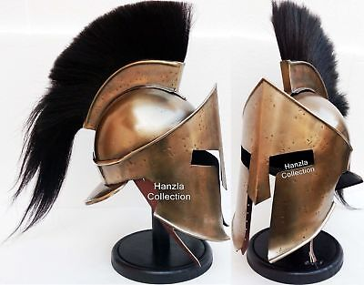 KING LEONIDAS Armour GREEK SPARTAN 300 Roman Helmet on Wooden Stand