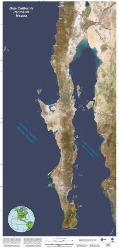 """Poster space Map of Baja California, Mexico 23.5"""" X 49.5"""""""