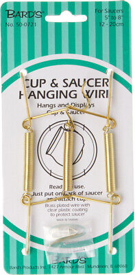 """Bard's Gold Wall Mountable Tension Cup & Saucer Hanger, 8""""H x 2.75""""W x 1""""D, 6 Pk"""