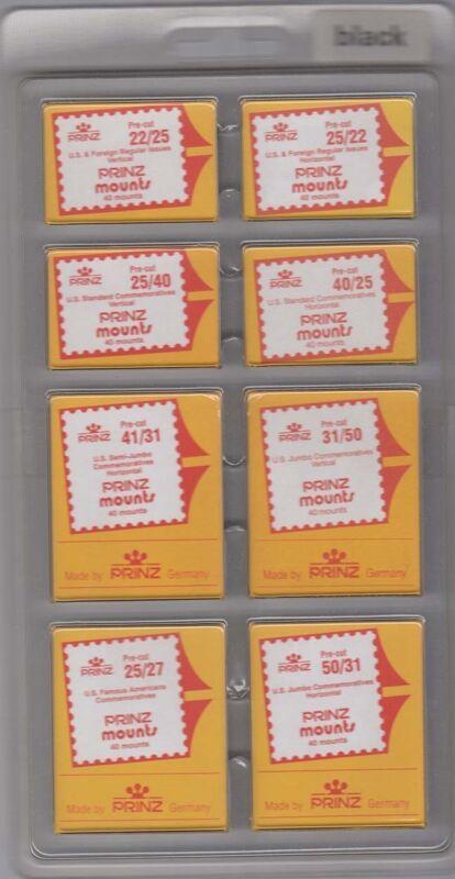 Prinz Black Stamp Mounts Assortment Mix Lot Of 8 Sizes 320 Mounts Deal New Scott