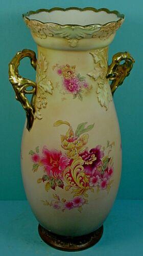 """HUGE 22"""" ANTIQUE ENGLISH S.F. & CO. ROYAL DEVON ART NOUVEAU BONE CHINA VASE"""